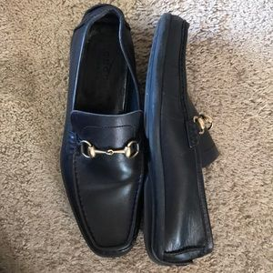 GUCCI black leather horse bit loafers dress shoes